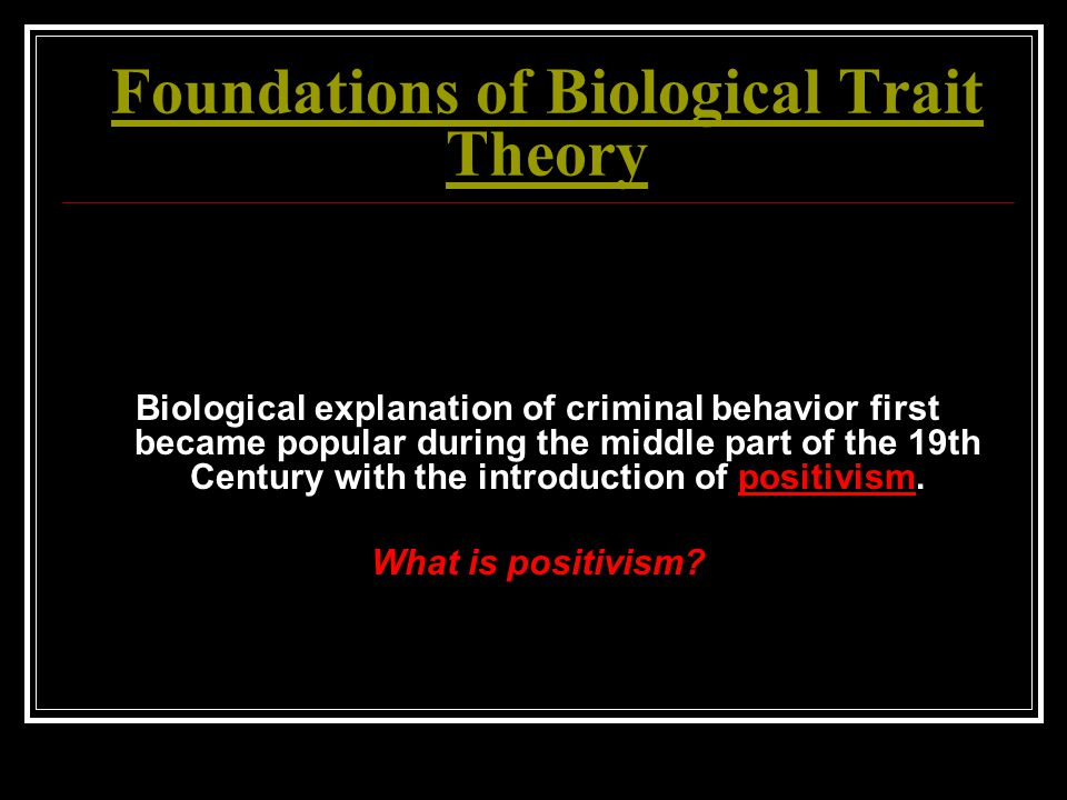Foundations of Biological Trait Theory