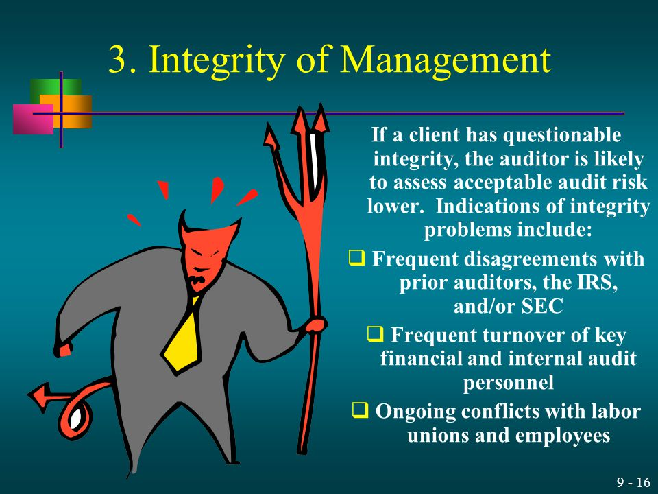 3. Integrity of Management