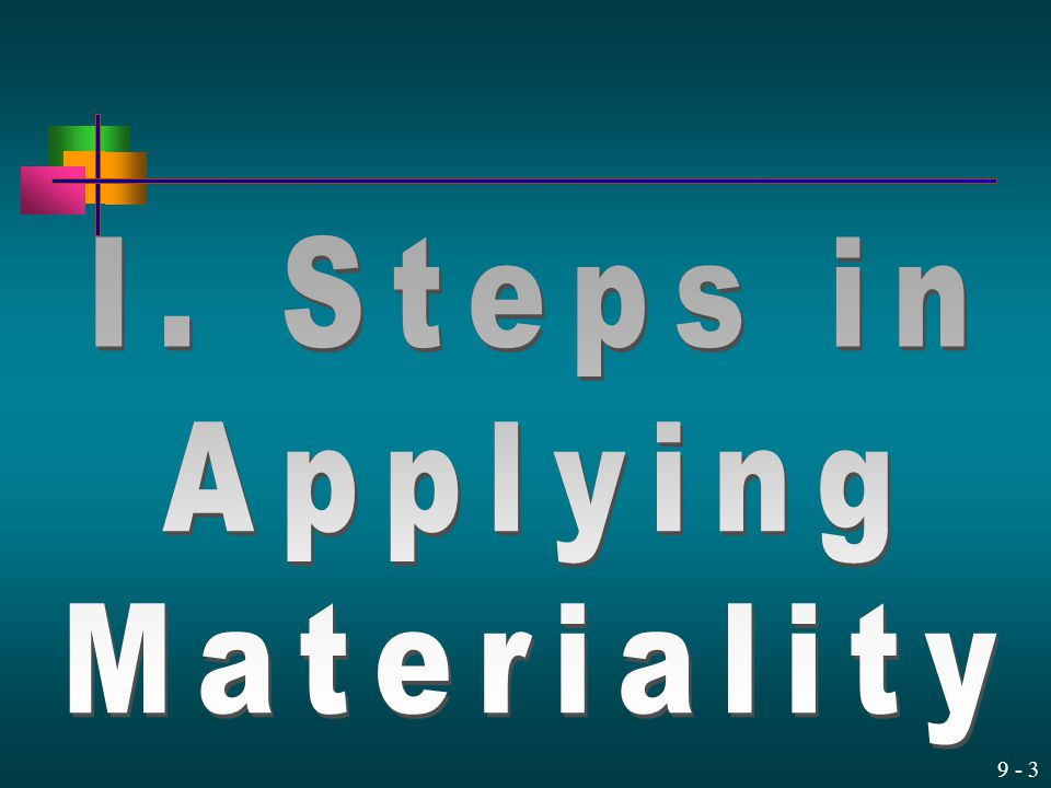 I. Steps in Applying Materiality