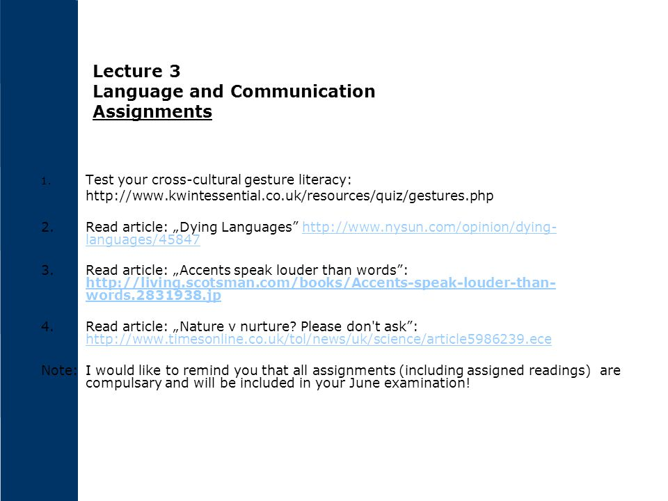 Lecture 3 Language and Communication Assignments