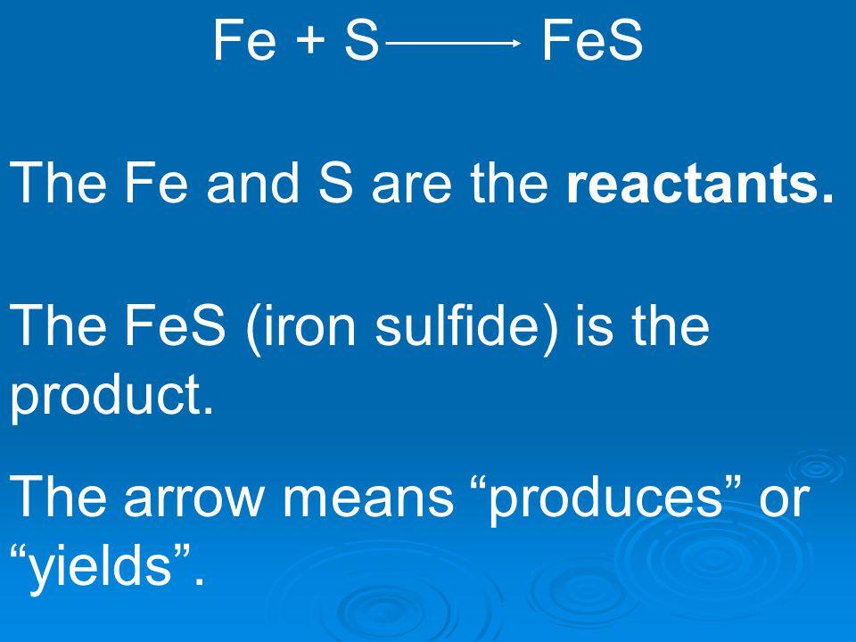 Fe + S FeS The Fe and S are the reactants.