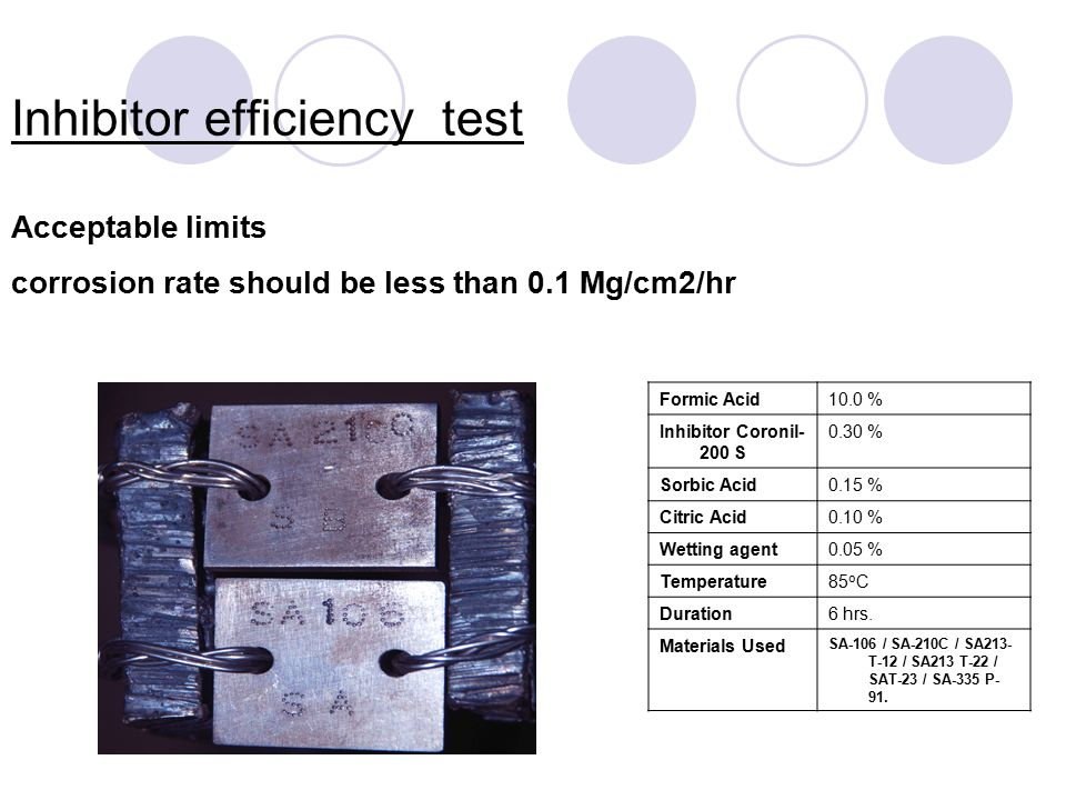 Inhibitor efficiency test Acceptable limits corrosion rate should be less than 0.1 Mg/cm2/hr