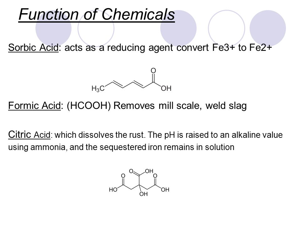 Function of Chemicals Sorbic Acid: acts as a reducing agent convert Fe3+ to Fe2+ Formic Acid: (HCOOH) Removes mill scale, weld slag.