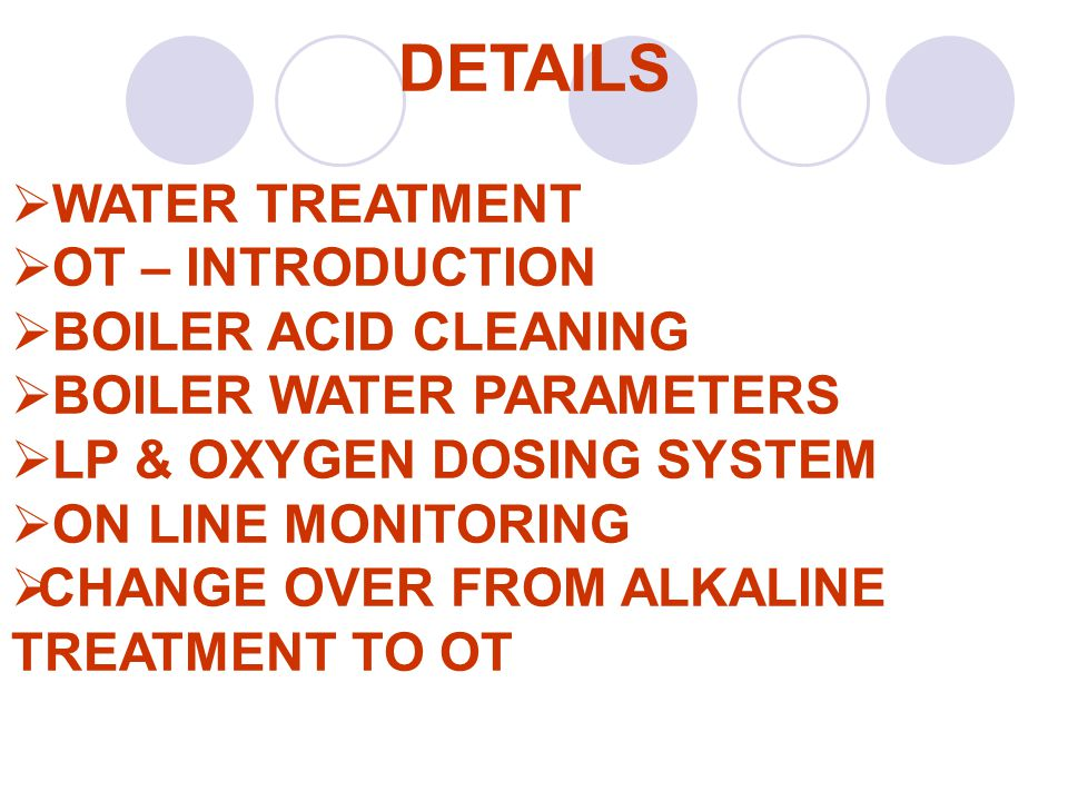 DETAILS WATER TREATMENT OT – INTRODUCTION BOILER ACID CLEANING