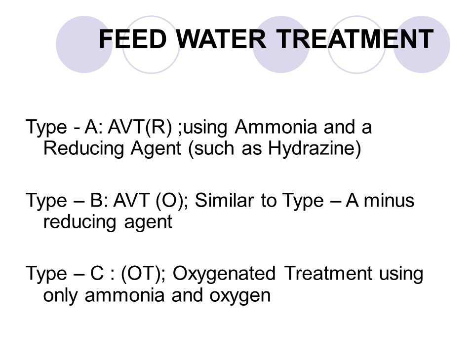 FEED WATER TREATMENT Type - A: AVT(R) ;using Ammonia and a Reducing Agent (such as Hydrazine)