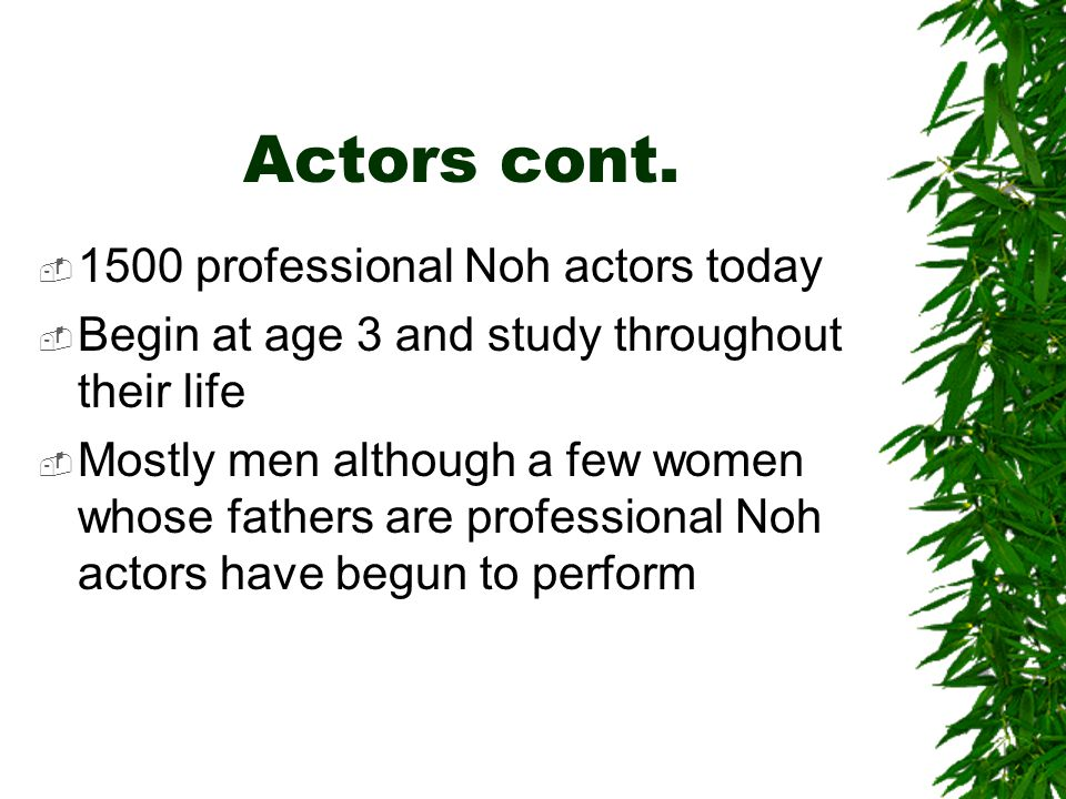 Actors cont. 1500 professional Noh actors today