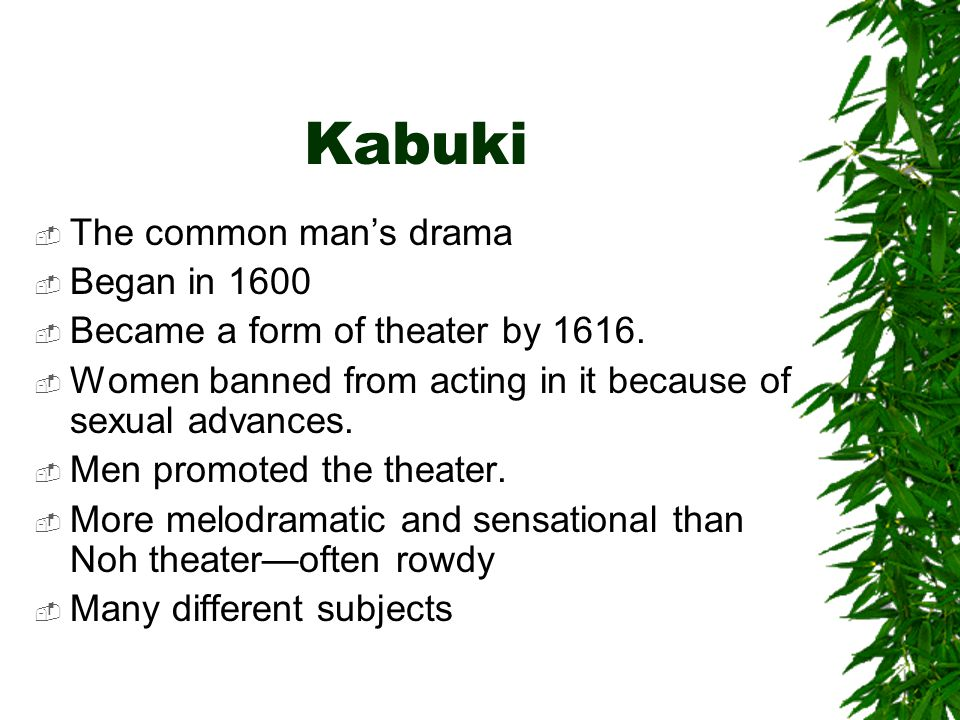 Kabuki The common man's drama Began in 1600