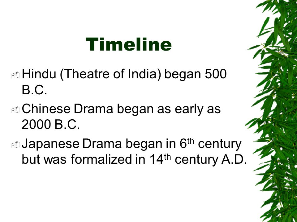 Timeline Hindu (Theatre of India) began 500 B.C.