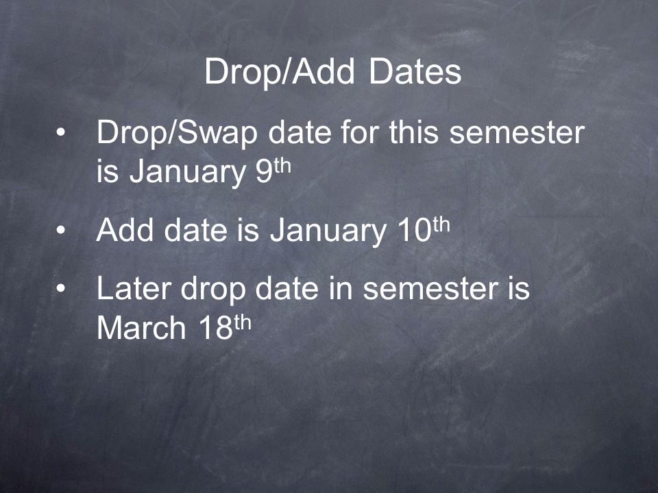 Drop/Add Dates Drop/Swap date for this semester is January 9th