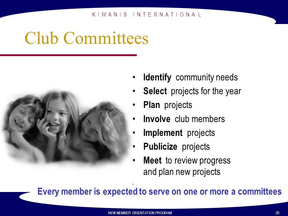 Club Committees Identify community needs Select projects for the year
