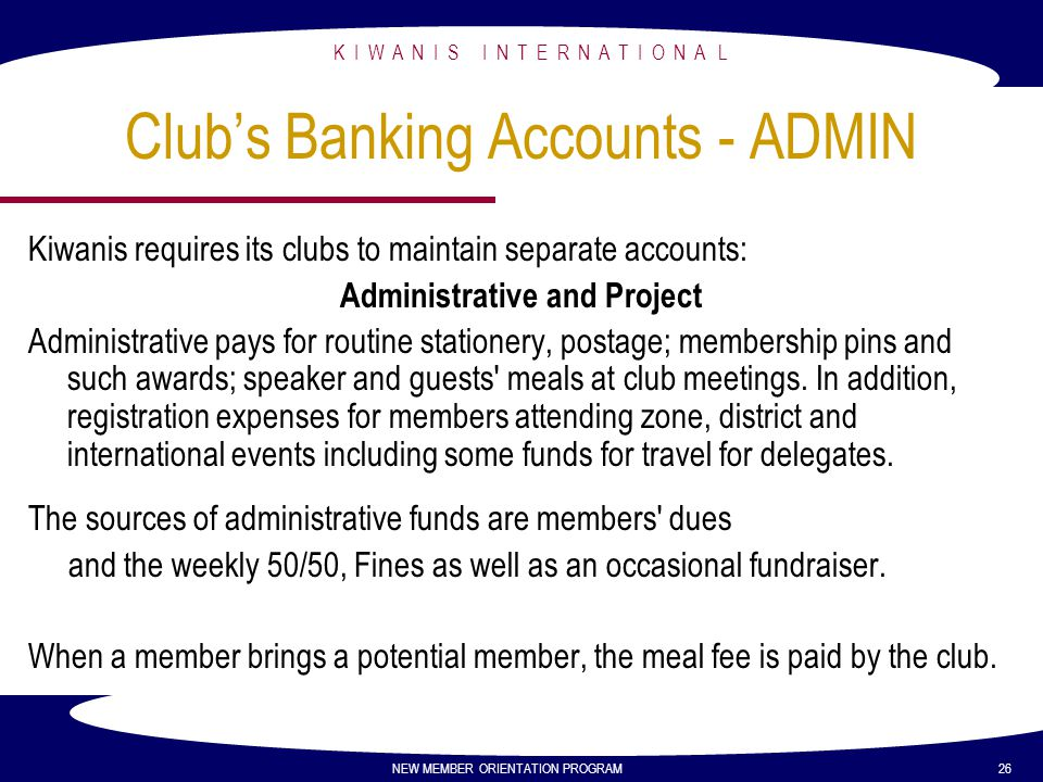 Club's Banking Accounts - ADMIN