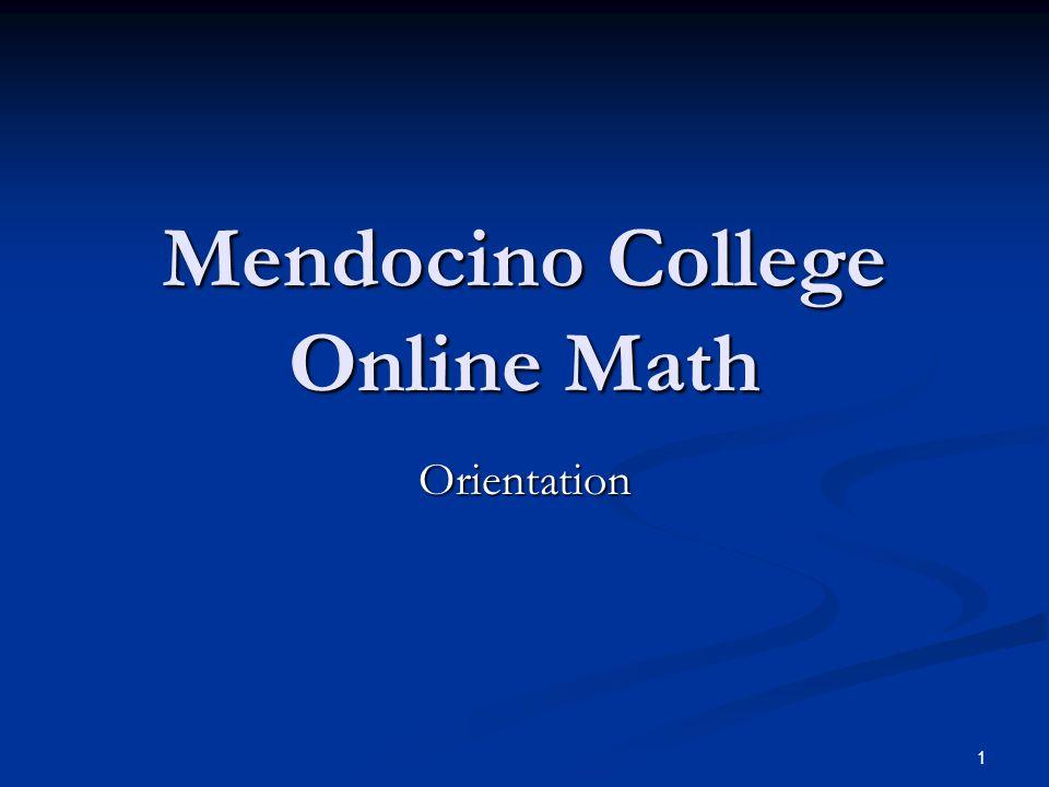 Mendocino College Online Math