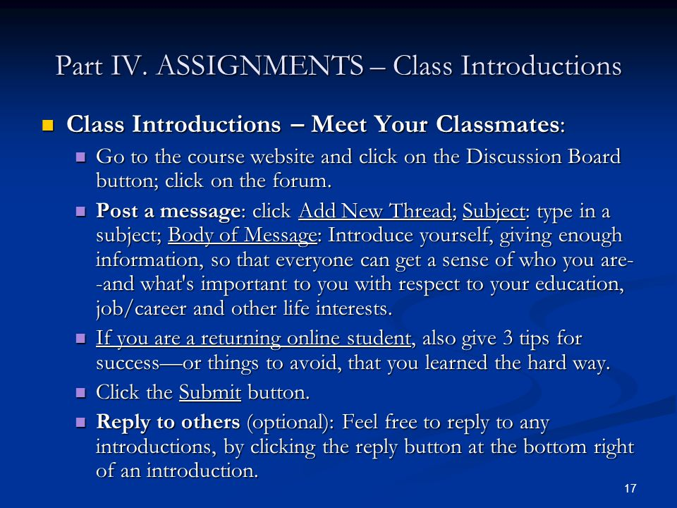 Part IV. ASSIGNMENTS – Class Introductions