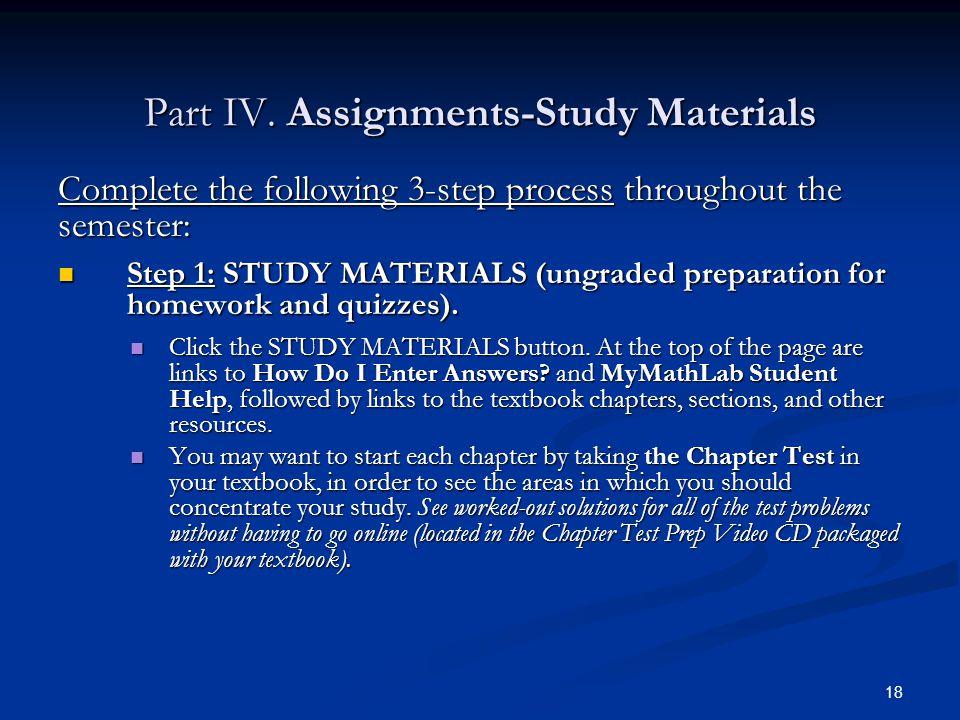Part IV. Assignments-Study Materials