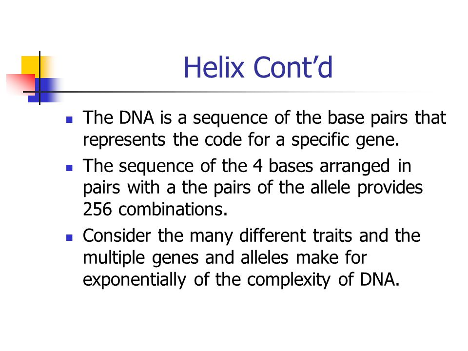Helix Cont'd The DNA is a sequence of the base pairs that represents the code for a specific gene.