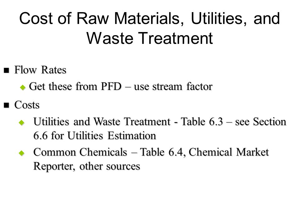 Cost of Raw Materials, Utilities, and Waste Treatment