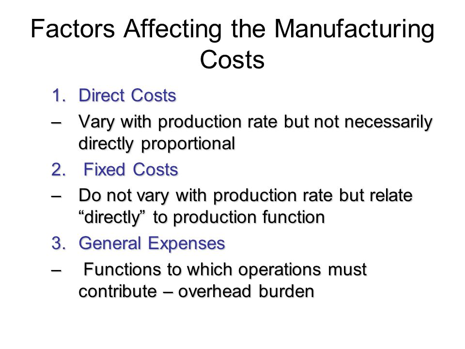 Factors Affecting the Manufacturing Costs
