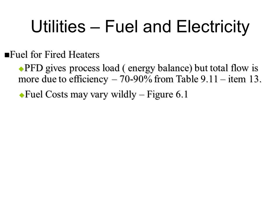 Utilities – Fuel and Electricity