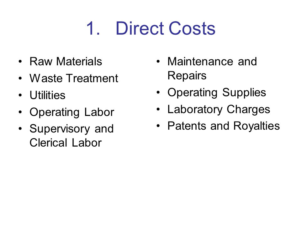 1. Direct Costs Raw Materials Waste Treatment Utilities