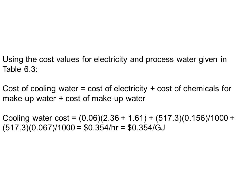 Using the cost values for electricity and process water given in Table 6.3: