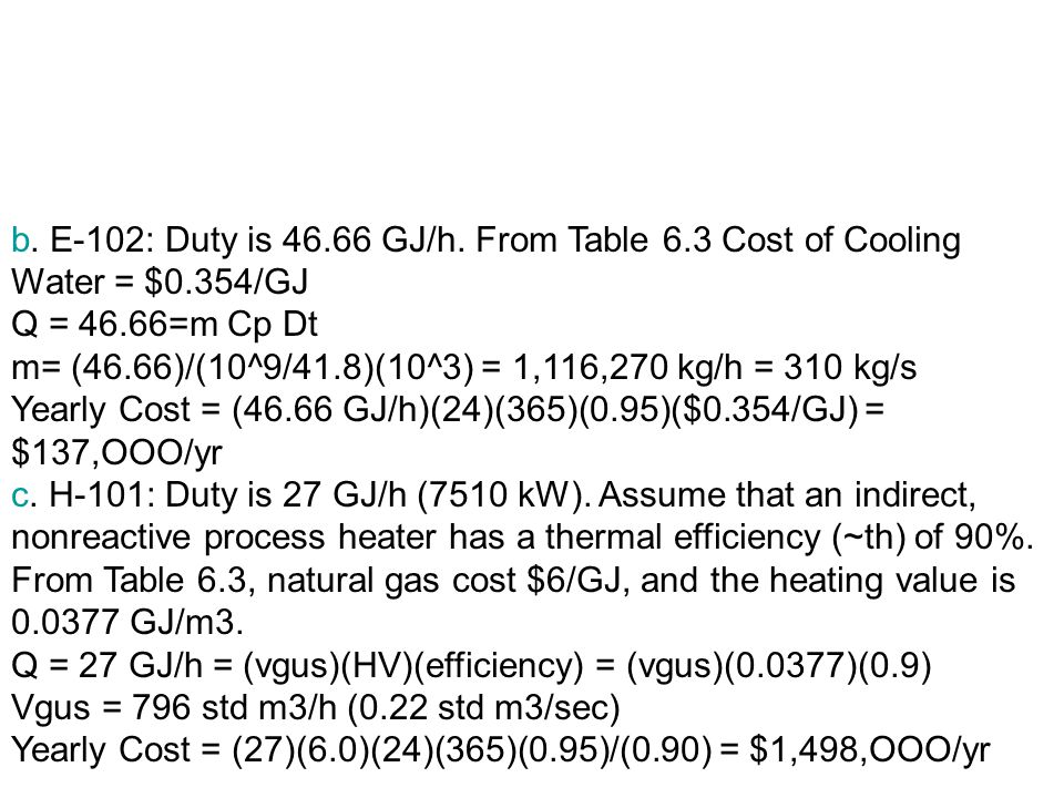 b. E-102: Duty is 46. 66 GJ/h. From Table 6