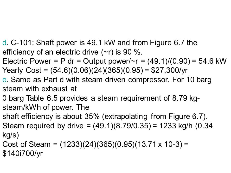 d. C-101: Shaft power is 49. 1 kW and from Figure 6