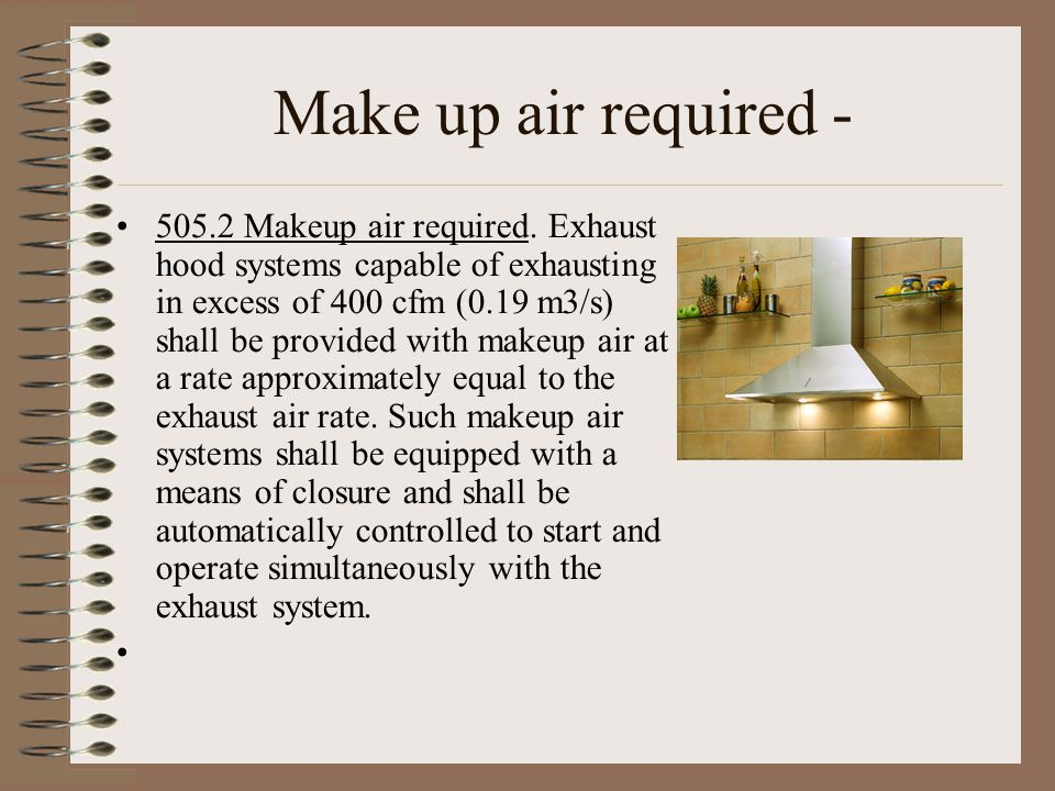 Make up air required -
