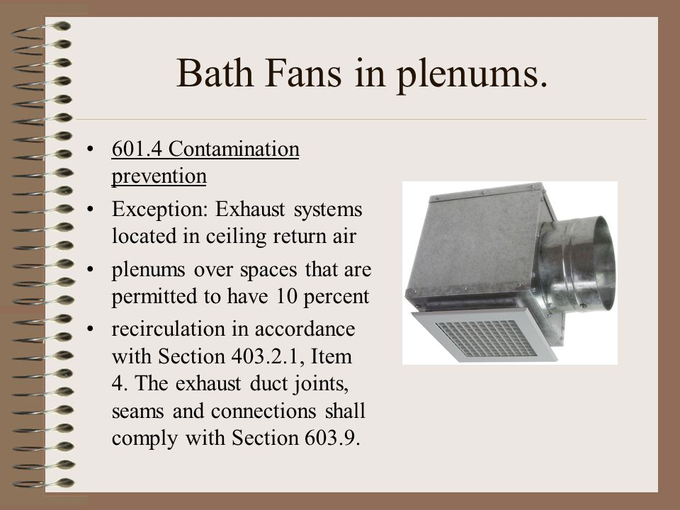 Bath Fans in plenums. 601.4 Contamination prevention