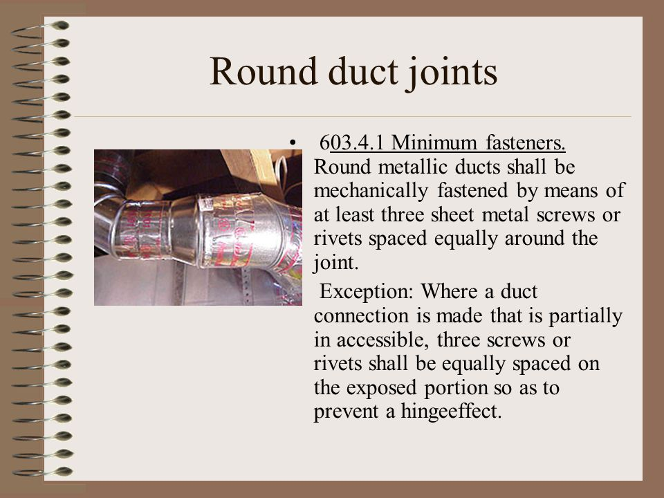 Round duct joints