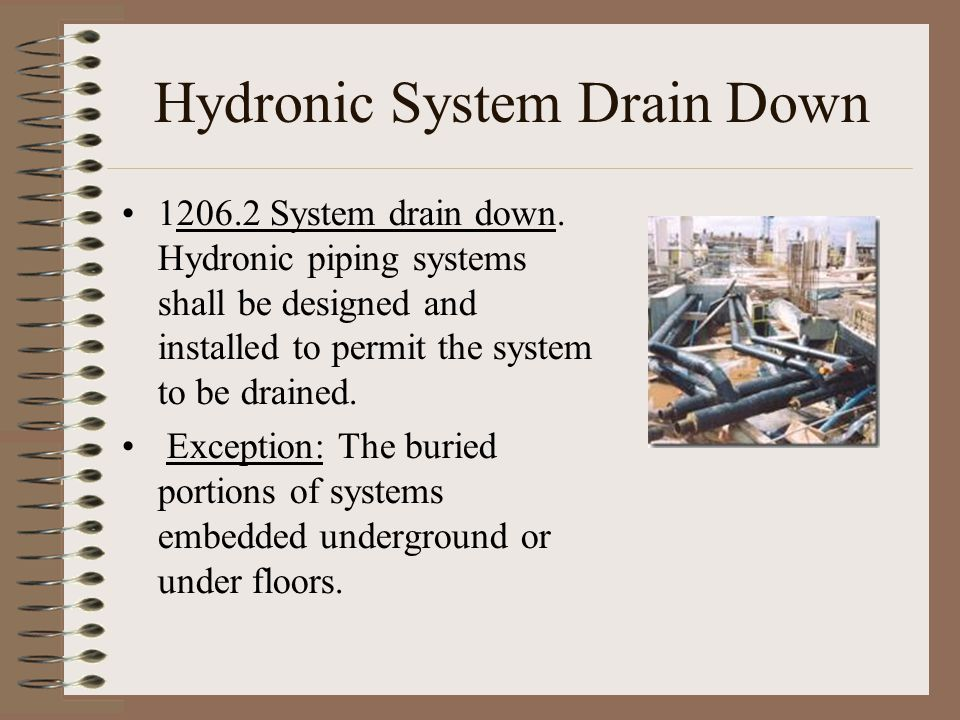 Hydronic System Drain Down