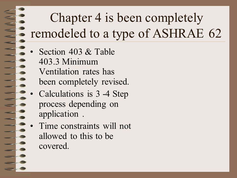 Chapter 4 is been completely remodeled to a type of ASHRAE 62