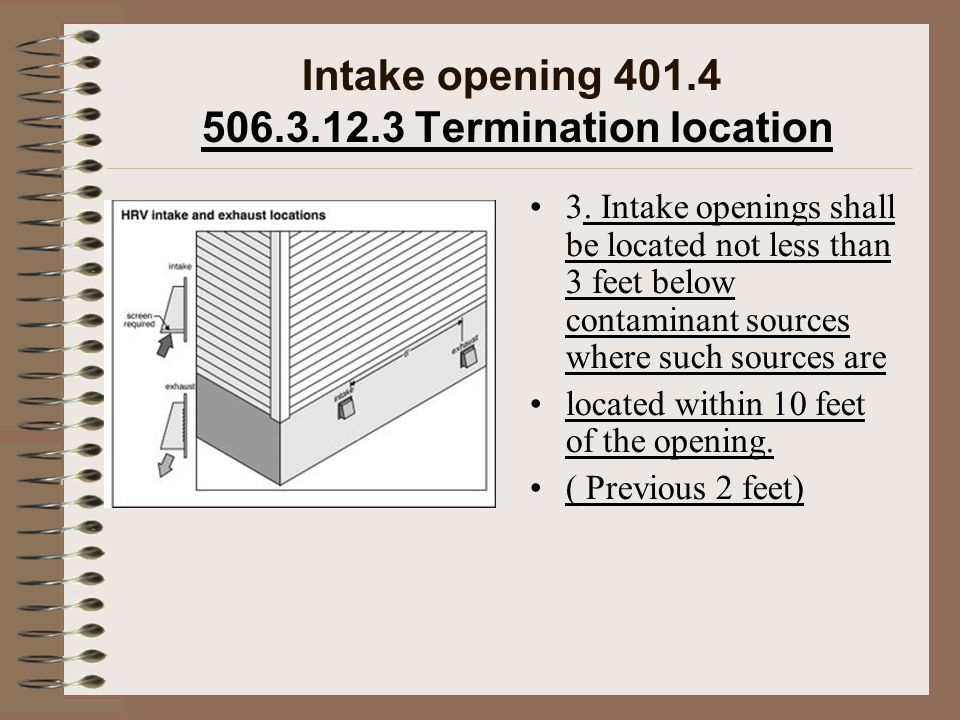Intake opening 401.4 506.3.12.3 Termination location