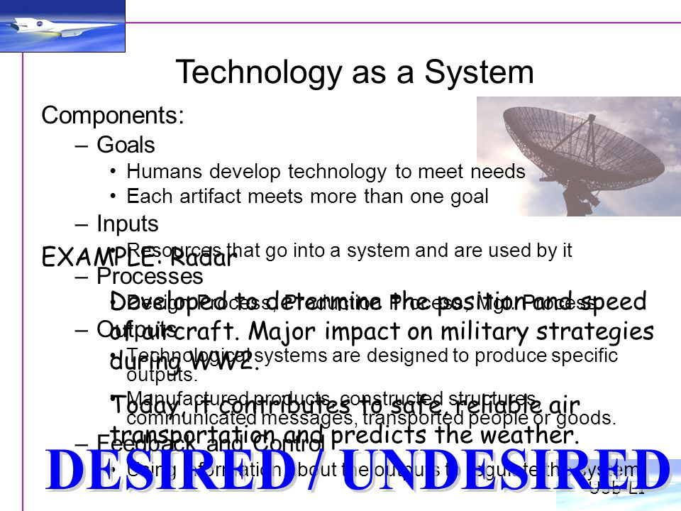 Technology as a System DESIRED / UNDESIRED Components: EXAMPLE: Radar