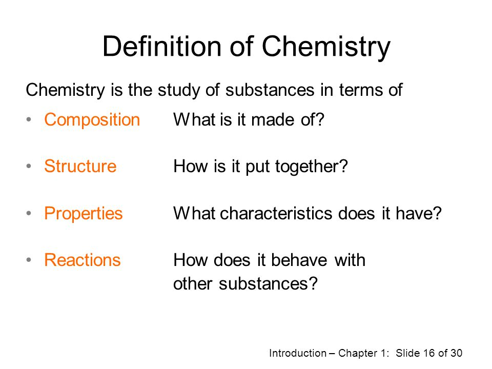 Definition of Chemistry