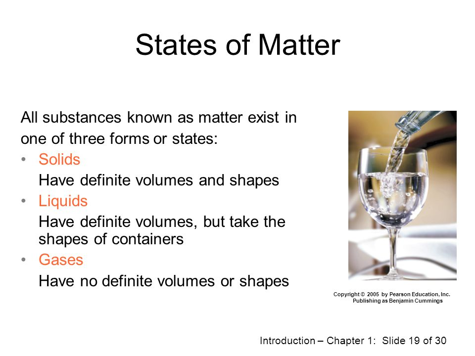 States of Matter All substances known as matter exist in