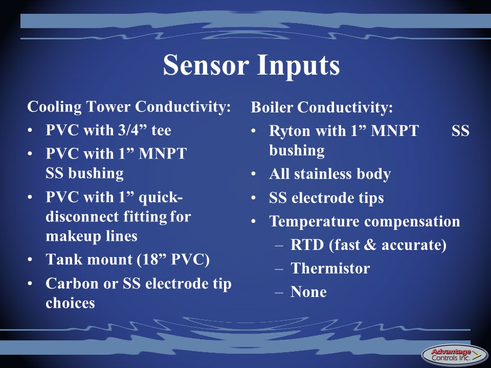 Sensor Inputs Cooling Tower Conductivity: Boiler Conductivity: