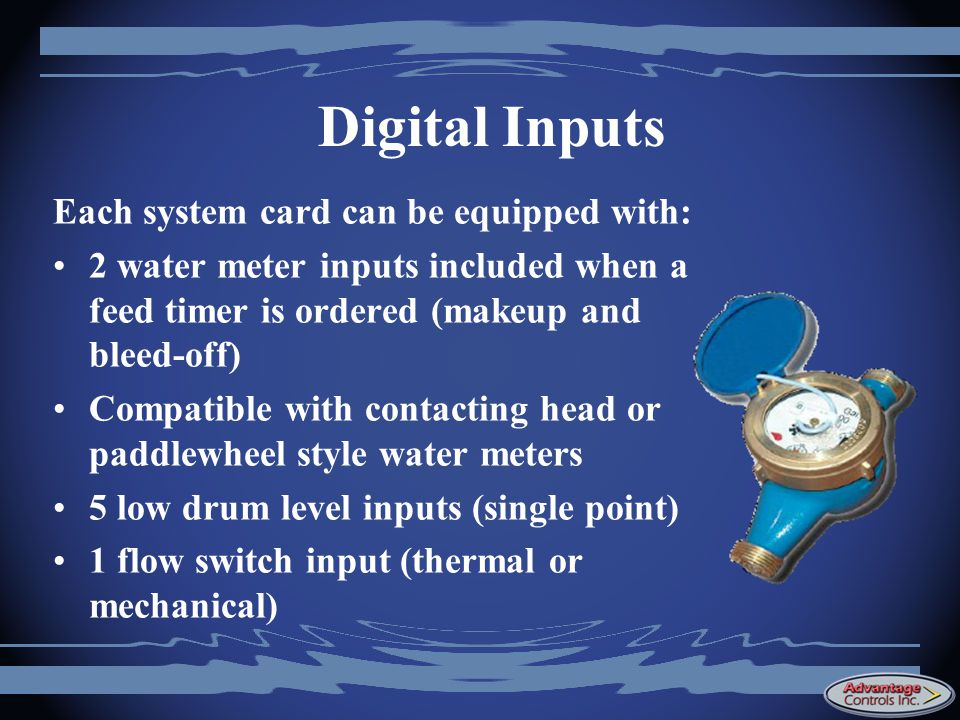 Digital Inputs Each system card can be equipped with:
