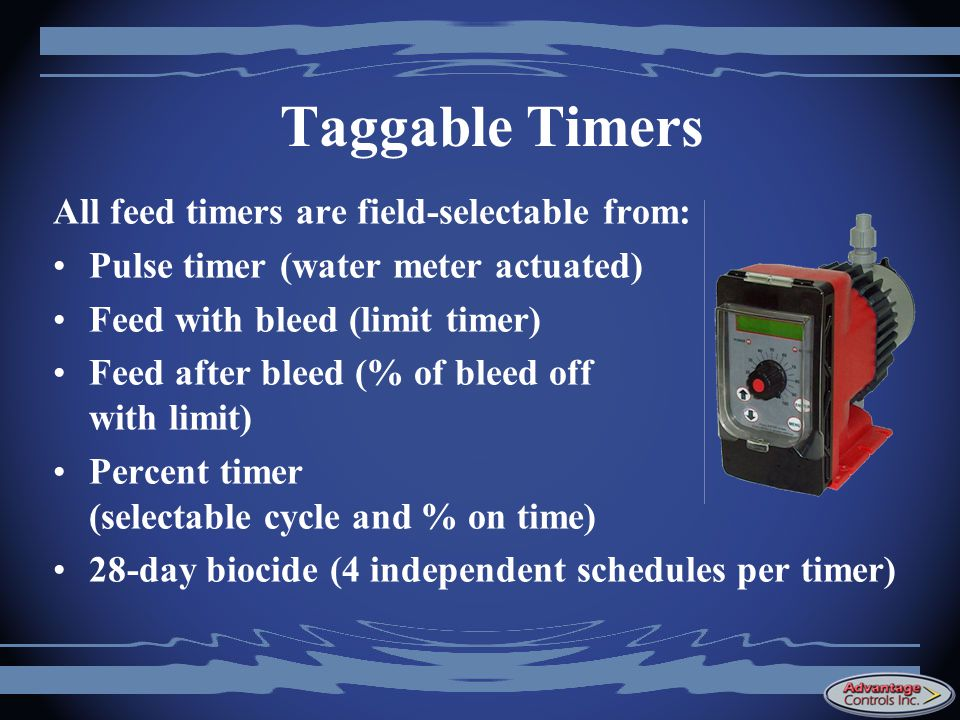 Taggable Timers All feed timers are field-selectable from: