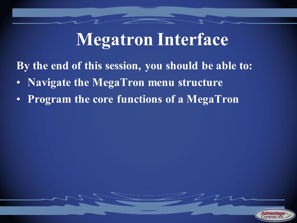 Megatron Interface By the end of this session, you should be able to: