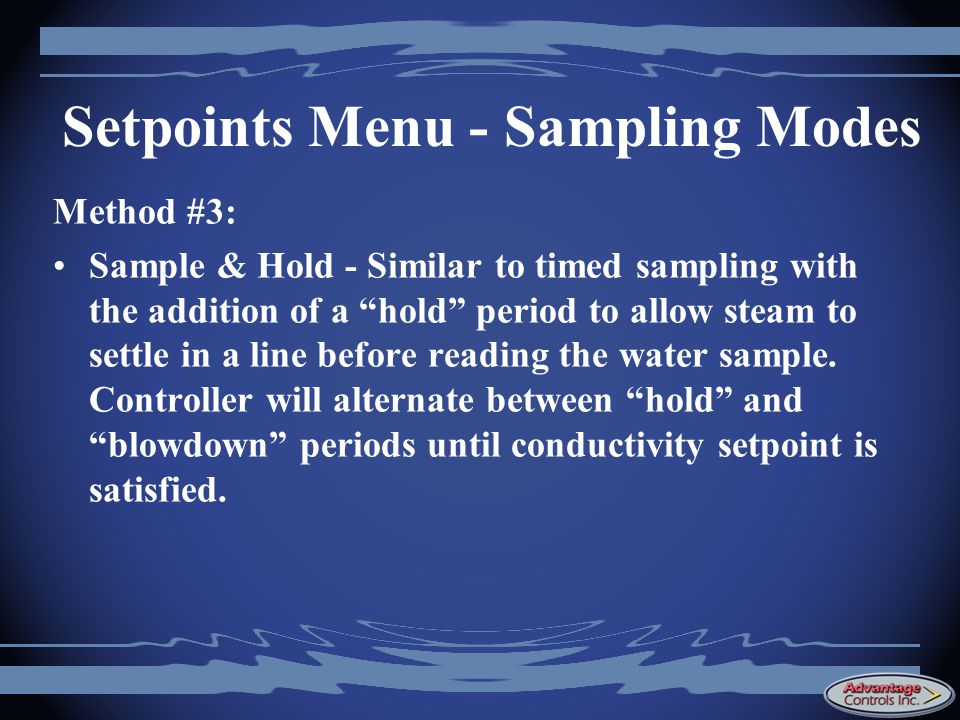 Setpoints Menu - Sampling Modes