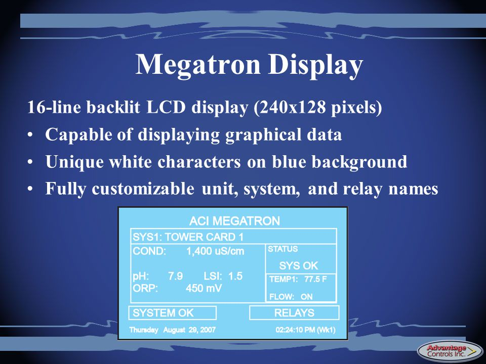 Megatron Display 16-line backlit LCD display (240x128 pixels)