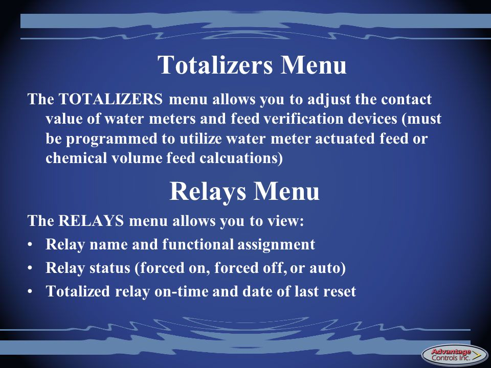 Totalizers Menu Relays Menu