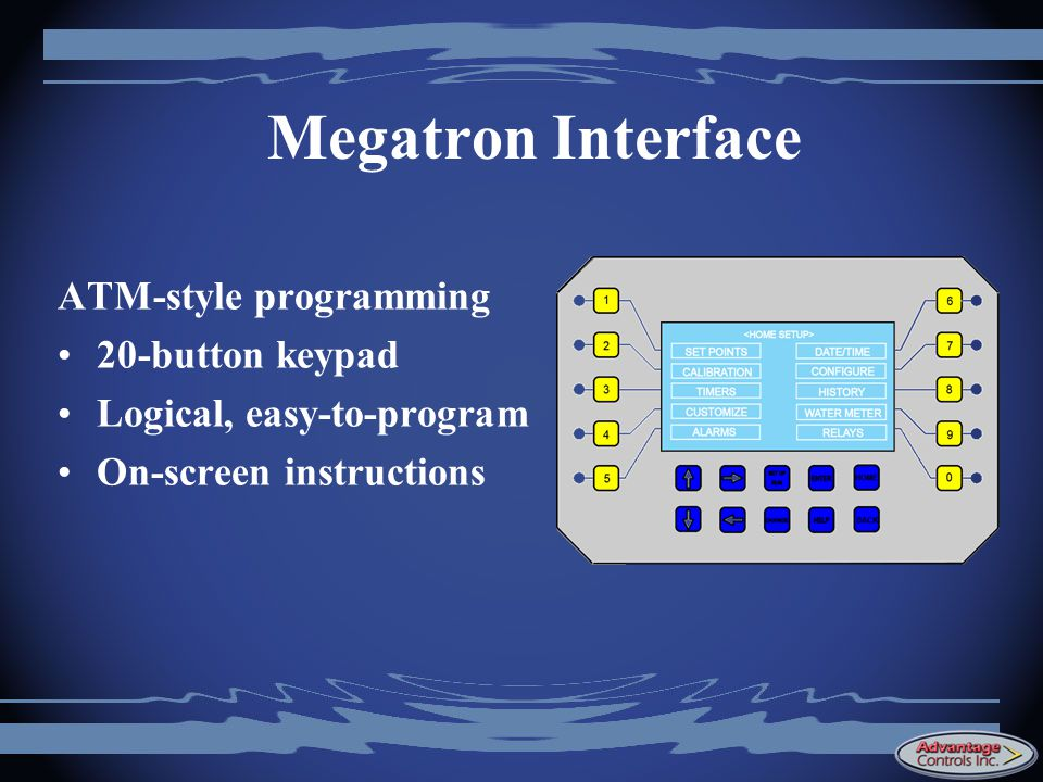 Megatron Interface ATM-style programming 20-button keypad