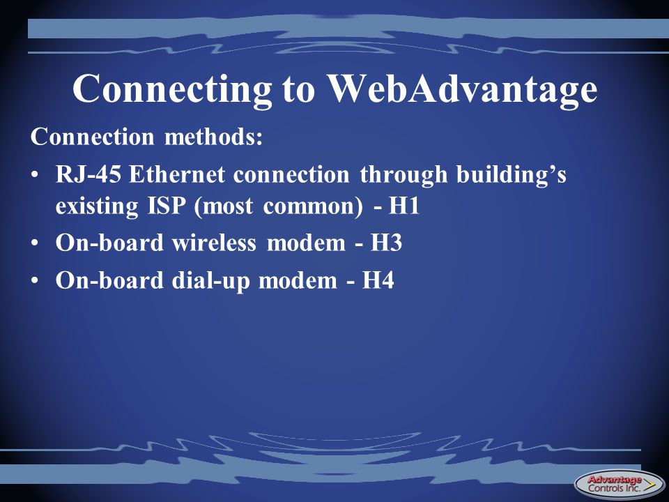 Connecting to WebAdvantage