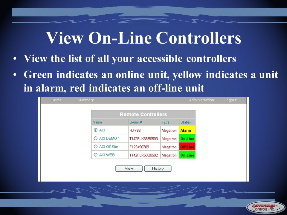 View On-Line Controllers