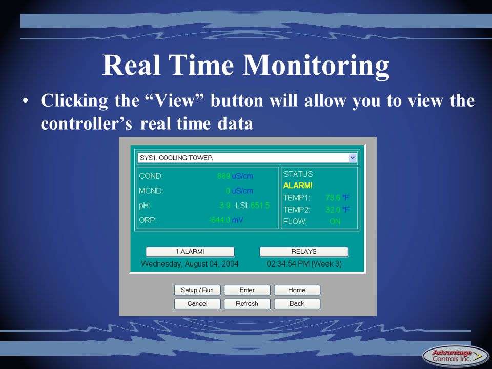 Real Time Monitoring Clicking the View button will allow you to view the controller's real time data.