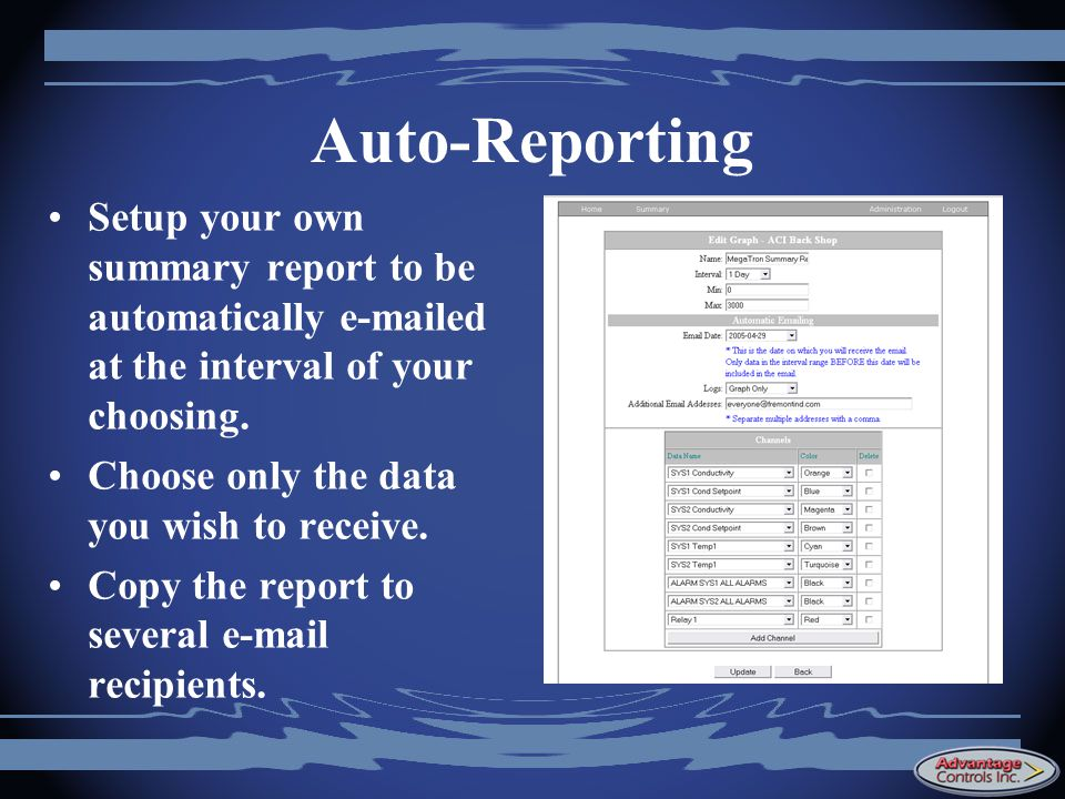 Auto-Reporting Setup your own summary report to be automatically e-mailed at the interval of your choosing.