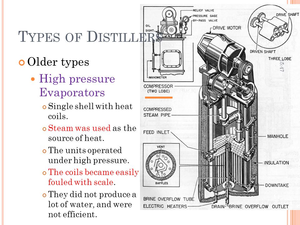 Types of Distillers Older types High pressure Evaporators