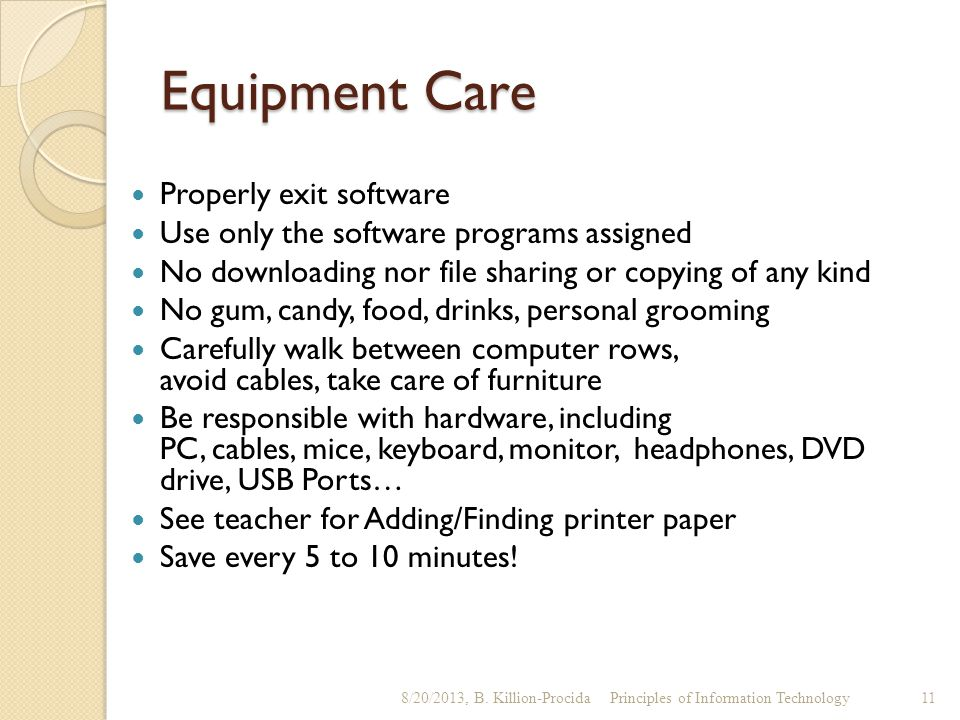 Equipment Care Properly exit software