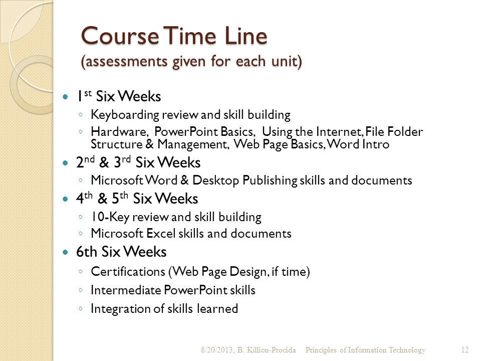 Course Time Line (assessments given for each unit)